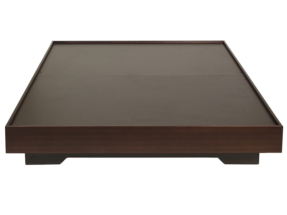 Base para cama queen size contempor nea chocolate macerata for Base de cama queen size con cajones